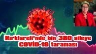 KIRKLARELİ'NDE BİN 380 AİLEYE COVİD-19 TARAMASI