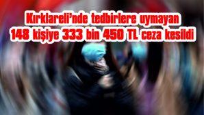 KIRKLARELİ'NDE TEDBİRLERE UYMAYAN 148 KİŞİYE 333 BİN 450 TL CEZA UYGULANDI
