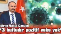 """EDİRNE VALİSİ CANALP: """"3 HAFTADIR POZİTİF VAKA YOK"""""""