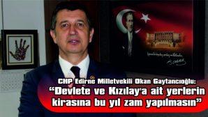 """""""DEVLETE VE KIZILAY'A AİT YERLERİN KİRASIA BU YIL ZAM YAPILMASIN"""""""