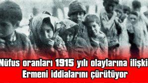 NÜFUS ORANLARI 1915 YILI OLAYLARINA İLİŞKİN ERMENİ İDDİALARINI ÇÜRÜTÜYOR