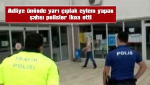 ELİNDE VE AĞZINDA JİLET OLDUĞUNU SÖYLEYEREK POLİSLERİ KENDİSİNDEN UZAK TUTMAYA ÇALIŞTI