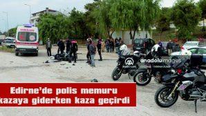 MOTOSİKLETTEN DÜŞEN POLİS MEMUR YARALANDI